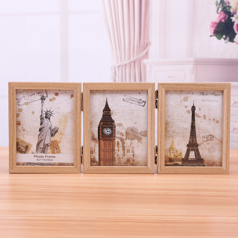 7 Inch 3 Picture Frame Modern Hinged Folding Triple Photo Frames2