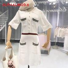 9b6d8abdde99 ALPHALMODA Striped Pocket Women Summer Casual Knitted Dress Polo Collar  Single Breasted Short-sleeved Female Sporty Vestidos