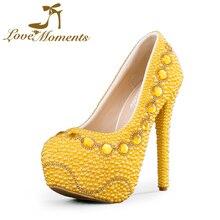 Love Moments sapatos femininos de salto  mulher sapatos sapatos de Casamento do ouro Sapatos de Noiva cristais pérolas amarelas senhoras sapatos de ouro sapatos de grife das mulheres de luxo 2016