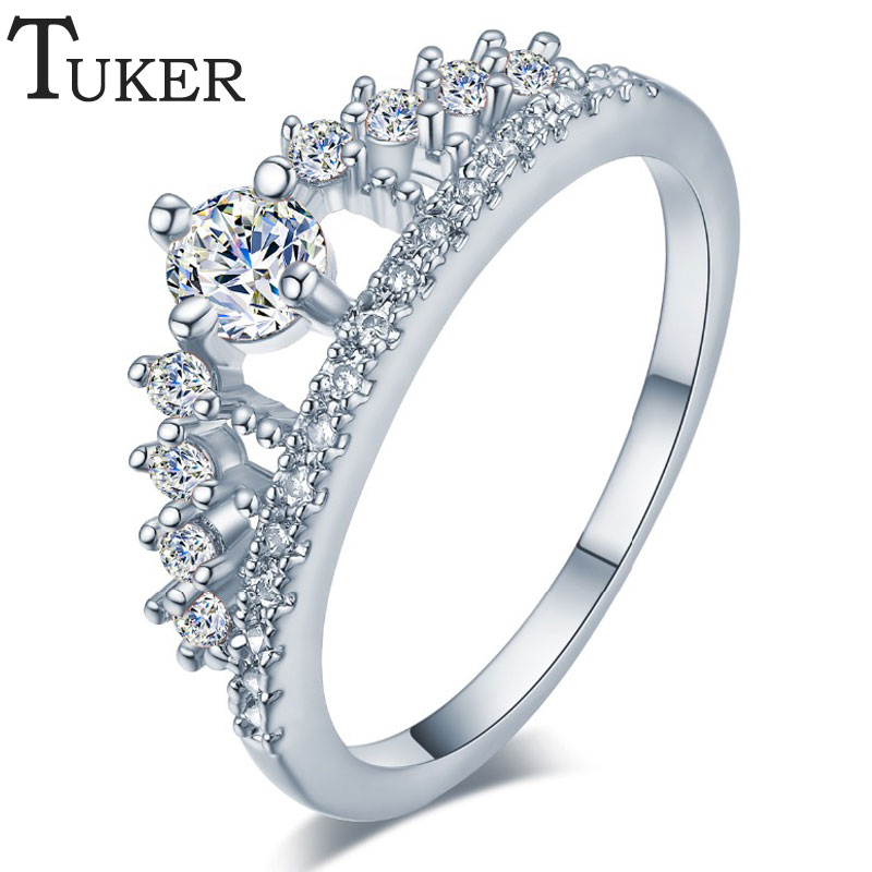 TUKER  Female Crown ring Simulated CZCz 925 Sterling Silver Engagement wedding Band ring for women