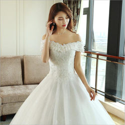 LOVSKYLINE Luxury Bling Wedding Dresses 2018 Ball Gown Long Tail Ivory Embroidery Lace Edge Short Sleeve 6