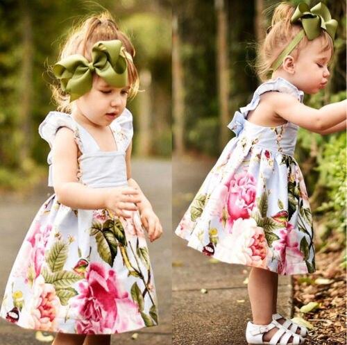 2018 NEW Newborn Baby Girls Summer Flower Party Dress Sundress Clothes 0 -18M