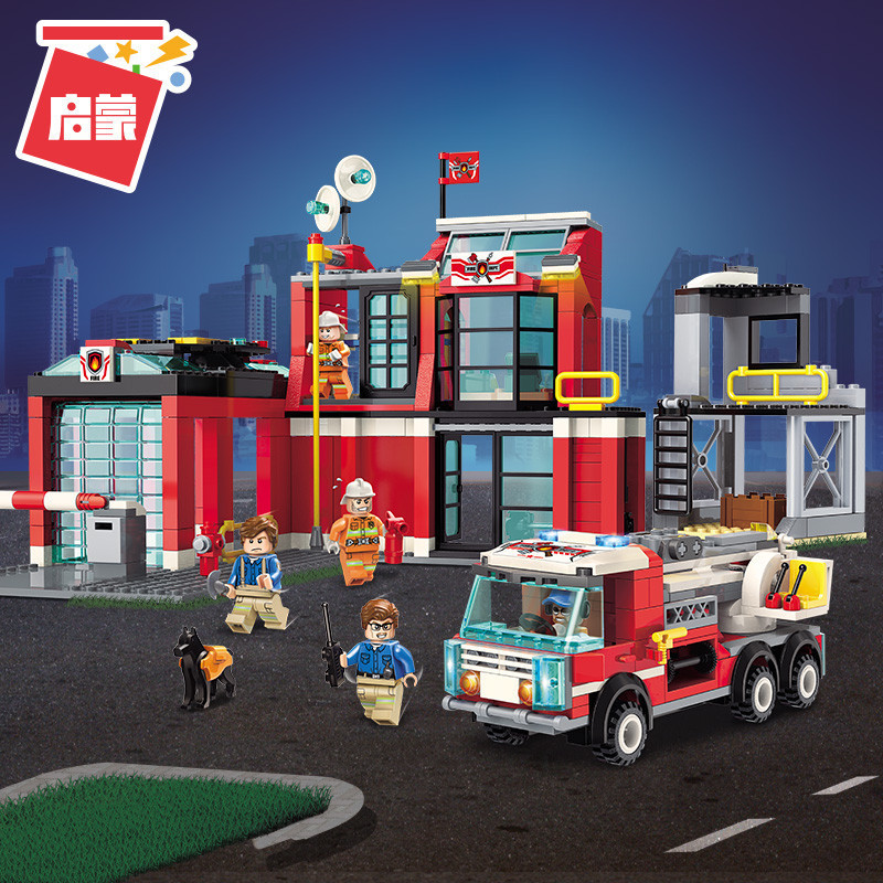 Enlighten 2808 523pcs Fire Rescue Central Office Car Firemen Mini Figures Building Blocks Kids Toys Compatible Legoings City
