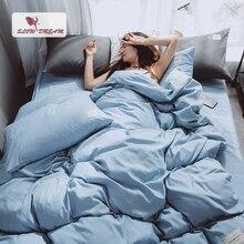 SlowDream Light Blue Bedding Set Luxury Decor Home Bedspread Duvet Cover Double Queen Flat Sheet Bed Linens Japan Style