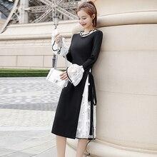 Осенне-зимнее женское платье с длинными рукавами в стиле пэчворк, черно-белое кружевное платье, уличная одежда большого размера по колено, платье vestidos robe