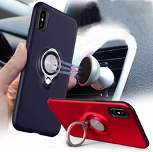 For iPhone 5 5S SE 6S 7 8 X Case With 360 Degree Rotating Metal Ring Cases 6s Plus plus Cover Back Shell
