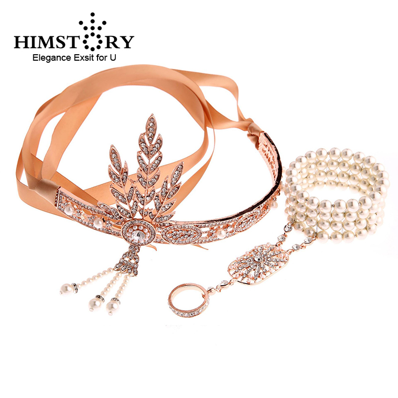 HIMSTORY Vintage Great Gatsby Headband Hair Accessories Crystal Pearl Tassels Hair Jewelry Wedding Jewelry Accessories