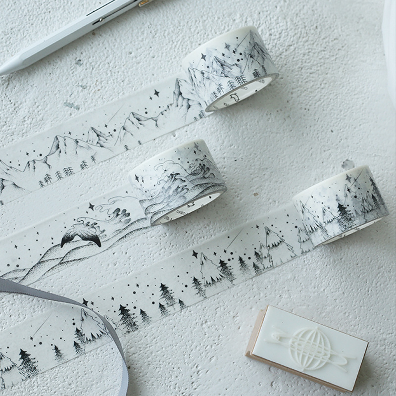Mountain sea tree paper washi tape black white masking tapes for diary album scrapbooking decoration Stationery xuanxuan diary white xs