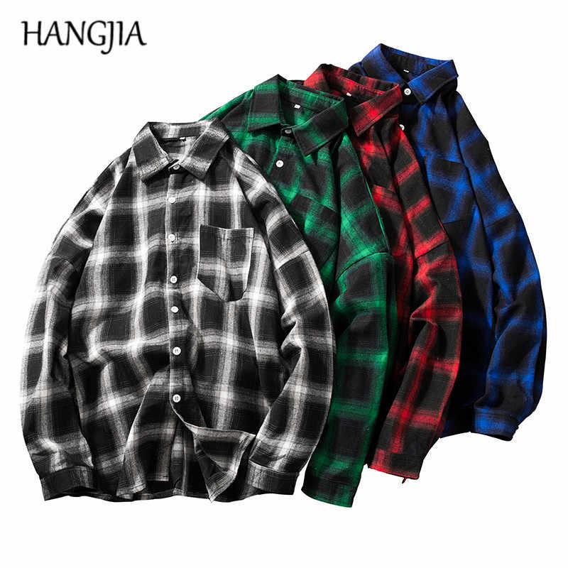 Мужская Ретро шотландская рубашка японская Толстовка Harajuku клетчатая рубашка красный/черный/зеленый/синий для мужчин и женщин хип-хоп одежда в клетку 2019