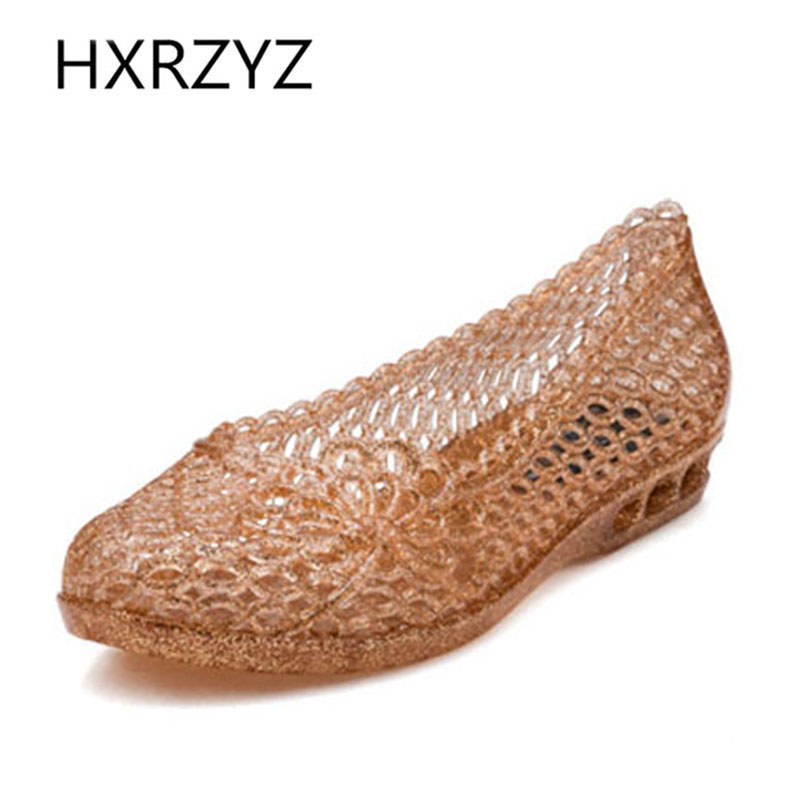 HXRZYZ women summer sandals ladies flats soft soles transparent jelly hole shoes fashion beach plastic sandals women cool shoes vintage embroidery women flats chinese floral canvas embroidered shoes national old beijing cloth single dance soft flats