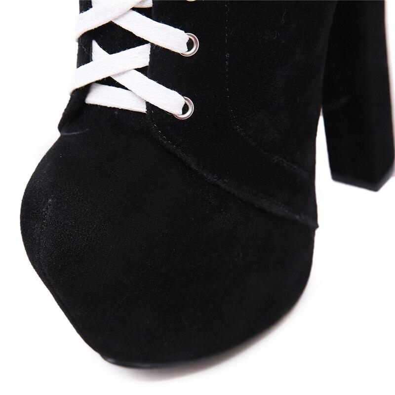 Noir 2019 Martins En Daim Plate Cm Up Haute Bottes Femmes Chaussures Qualité Dame Peluche De forme Mode Dentelle Printemps Femelle 16 Talons fFRtFgr