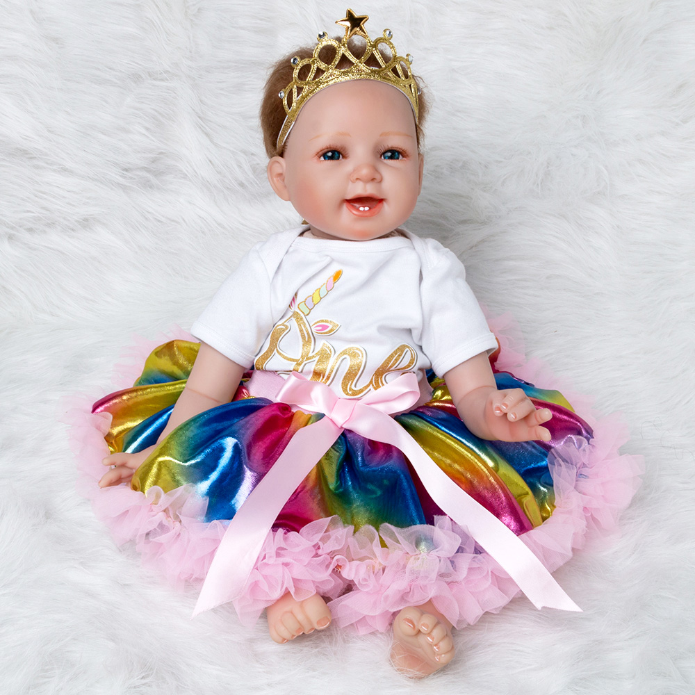 Rainbow Baby Doll Toy Girl 22 Inches Reborn Vinyl Girls Dolls Children High Heel Suit Soft Silicone 55 cm boneca newborn