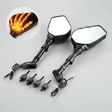 1 paar Motorrad Lenker Rückspiegel LED Licht Mit Schädel Hand Muster Geist Klaue 8mm 10mm Schrauben 10W 12V Licht