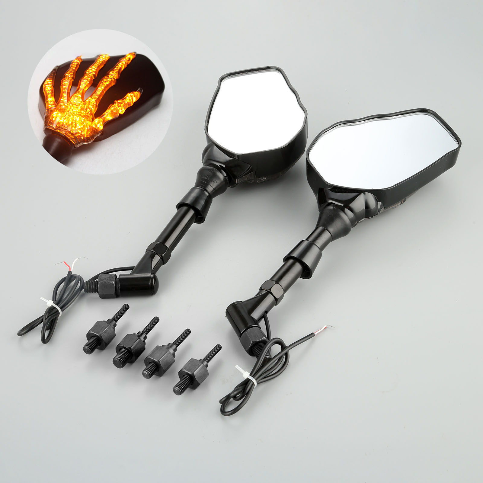 1Pair Motorcycle Handlebar Rearview Mirror LED Light With Skull Hand Pattern Ghost Claw 8mm 10mm Screws 10W 12V Light-in Side Mirrors & Accessories from Automobiles & Motorcycles