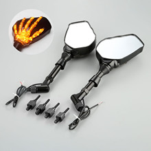 1Pair Motorcycle Handlebar Rearview Mirror LED Light With Skull Hand Pattern Ghost Claw 8mm 10mm Screws 10W 12V Light