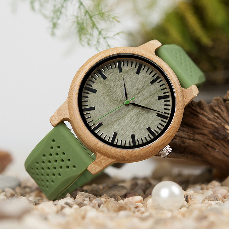 BOBO BIRD Unisex Bamboo Wooden Watch with 2 x Silicone Straps
