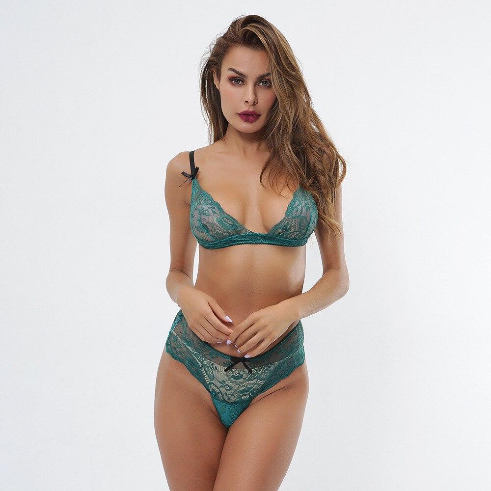 new women lingerie transparent sexy green print eyelash lace sexy gathered underwear set 2 piece lingerie in Bra Brief Sets from Underwear Sleepwears