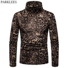 Mens Leopard Print Pullover Turtleneck Sweater 2018 Autumn New High Colalr Sweaters Pullovers Men Casual Bottoming Sweater Male(China)