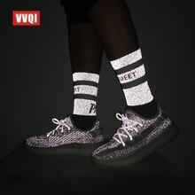 Harajuku chaussettes hommes hip hop robe nouveauté équipage chaussettes coton créateur de mode marque de luxe babyssouffle chaussettes lumineuses néon cadeau AJ