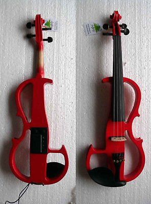 New 4/4 3/4 Red Electric violin Nice Sound silent 4 4 electric violin infinite brand paten pick up nice