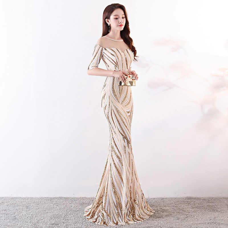 1f817d9775 Beige Striped Sequined Diamond Half Sleeve Long Formal Dress Sexy Nightclub  Wear Elegant Cocktail Party Dresses For Women 2018