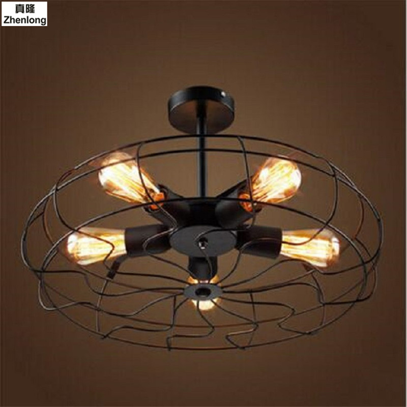 5Heads E27 Base Iron Material Vintage Retro Industrial Fan Ceiling Lights American Country Kitchen Loft Coffee Shop Ceiling Lamp цена