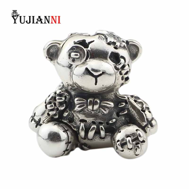 925 Sterling Silver Hug Me 2 0 Charms Bear Beads DIY Animal Jewelry Making Fits European
