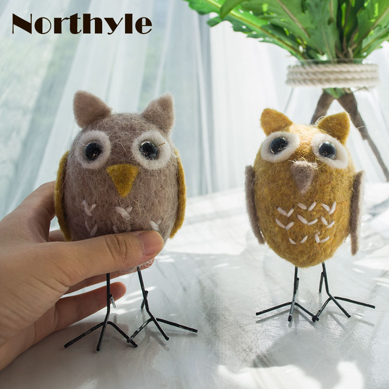 Genuine Northyle BS163376 Naughty Owl Bro Wool Bird Figurine Mini Owl Craft  Miniature Christmas Gift Home Decoration  In Figurines U0026 Miniatures From  Home ...