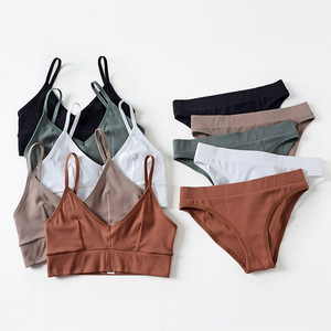 Image 1 - French Bralette Ultra thin Triangle Cup Bra Set Sexy Back Cotton Underwear Fashion Women Bras Panties Set Elasticity Lingerie