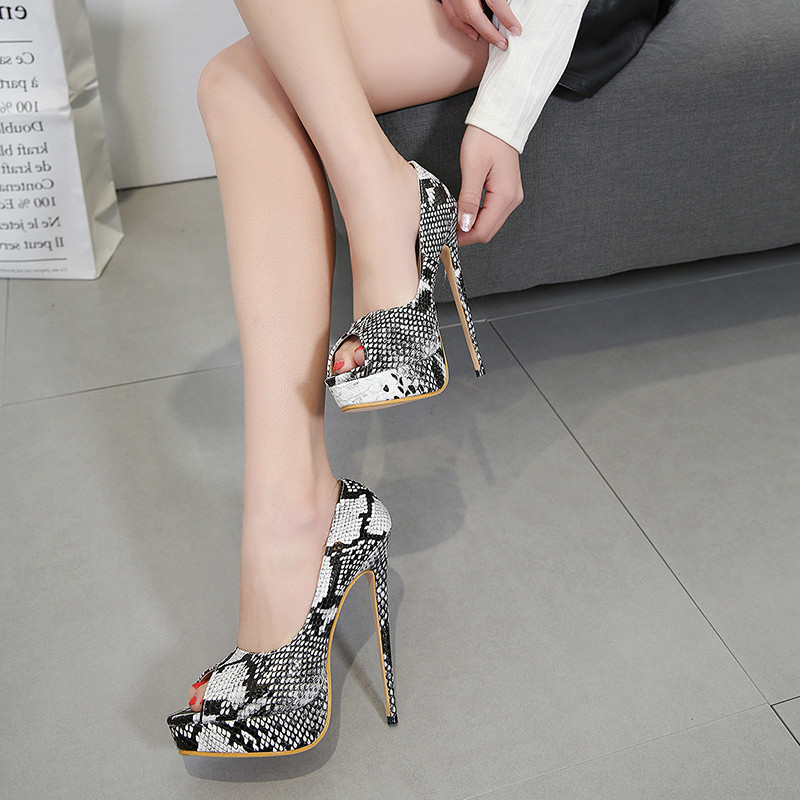af8eb392e02b Peep Toe Platform Shoes Women Heels 15 CM Sexy Extreme High Heels Shoes  Snake Style Women Shoes Heel 2018 Ladies Pumps-in Women s Pumps from Shoes  on ...