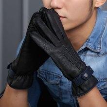 Full Outer Seam Mans Deerskin Gloves Genuine Buckskin Male Plus Velvet Thicken Winter Warm Driving Man Mittens LDM9117