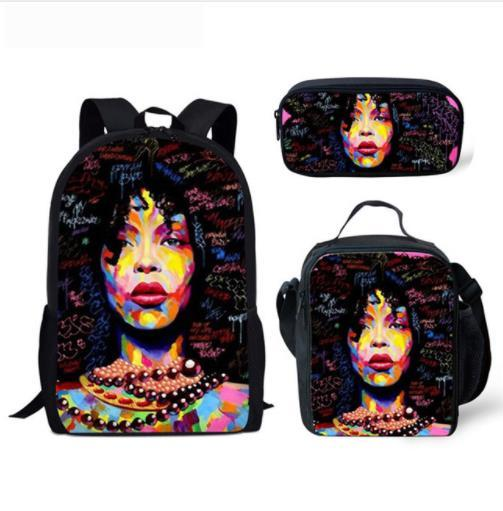 3pcs/set Afro lady with purple hair School Bags for Teenagers  1