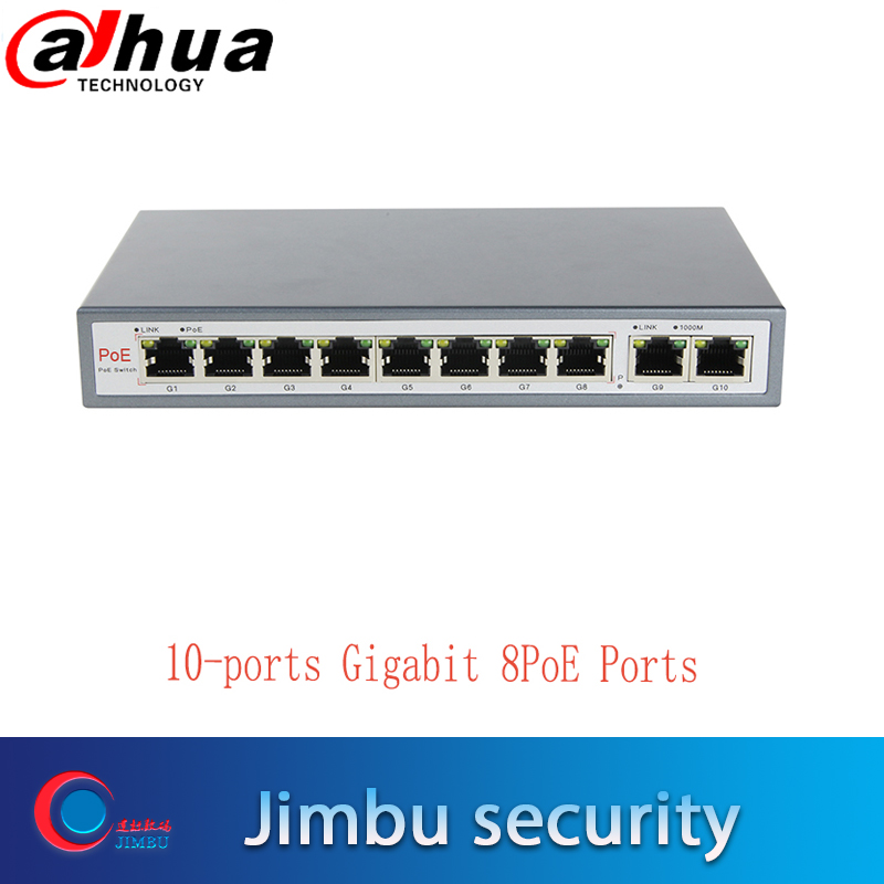Jtoeb 10-Port Gigabit PoE Switch With 8 Gigabit PoE Ports 8*10/100/1000Mbs130W 2uplink Support MDI/MDIX Automatic Adjustment