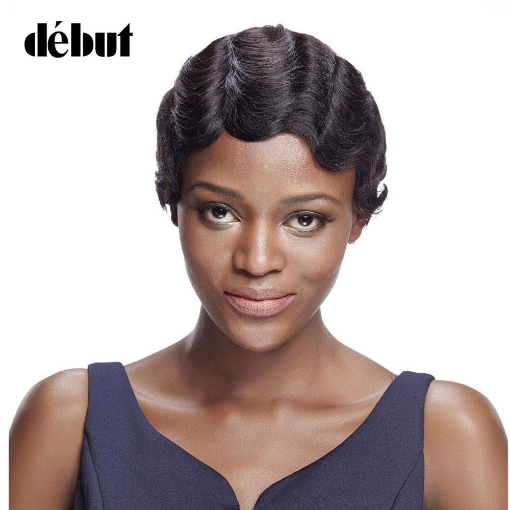 Debut Brazilian Remy Hair Short Wavy Wave Wigs For Black Women Short Pixie Cut Human Hair Wigs Color 1b Short Bob Wigs