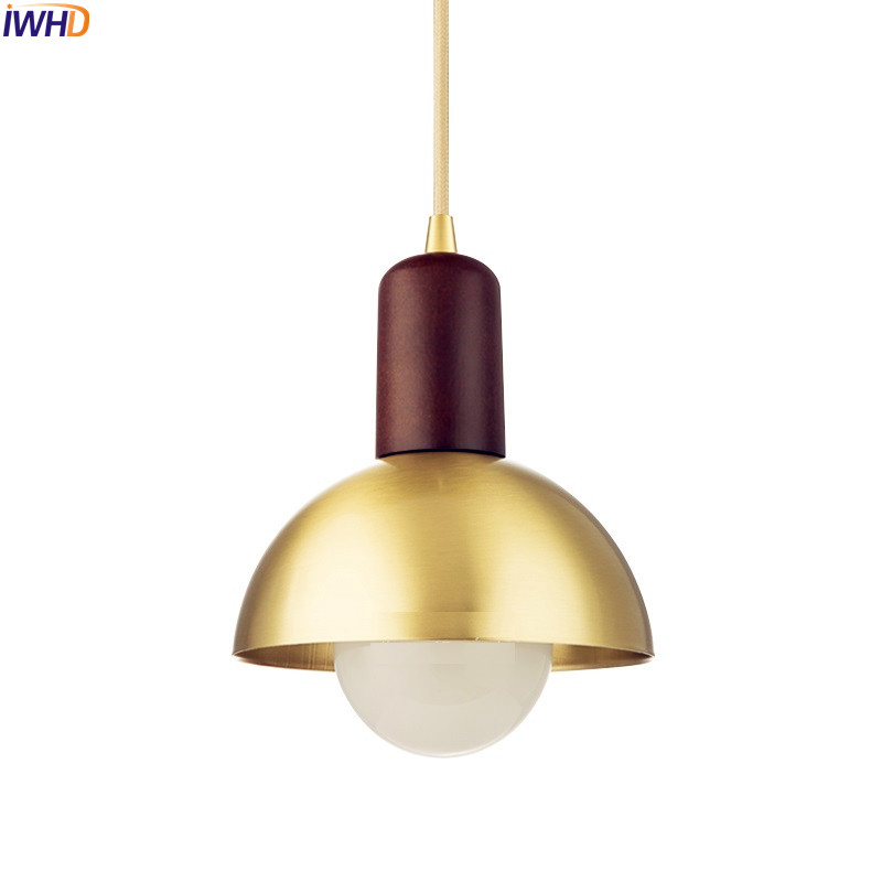IWHD Nordic Creative Brass LED Pendant Light Fixtures Dinning Room Japanese Wooden Pendant Lamp Hanglamp Home Lighting Luminaire wieco art modern 100