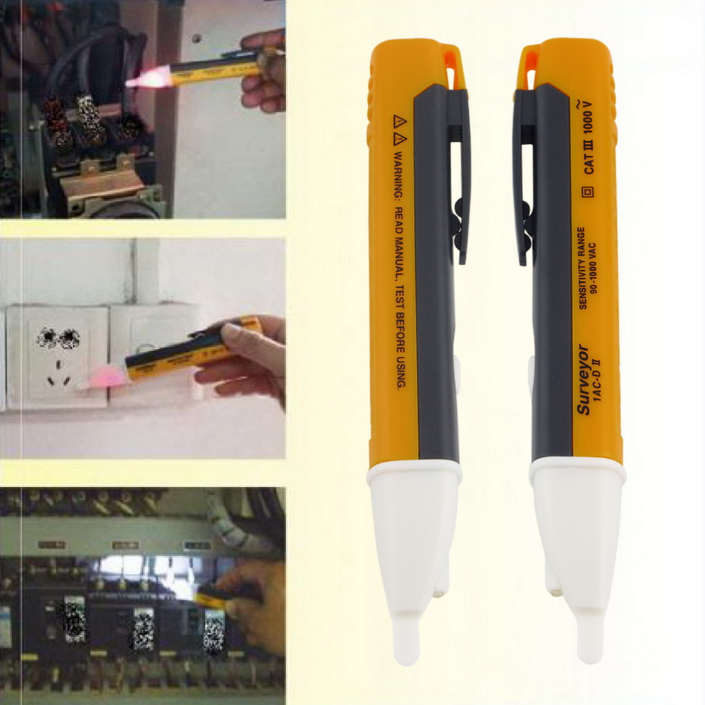 Socket Wall AC Power Outlet Voltage Detector Sensor Tester Electric Test Pen LED Light Voltage Indicator 90-1000V household radiation test pen electromagnetic radiation tester sound and light alarm test pen detection measuring tools