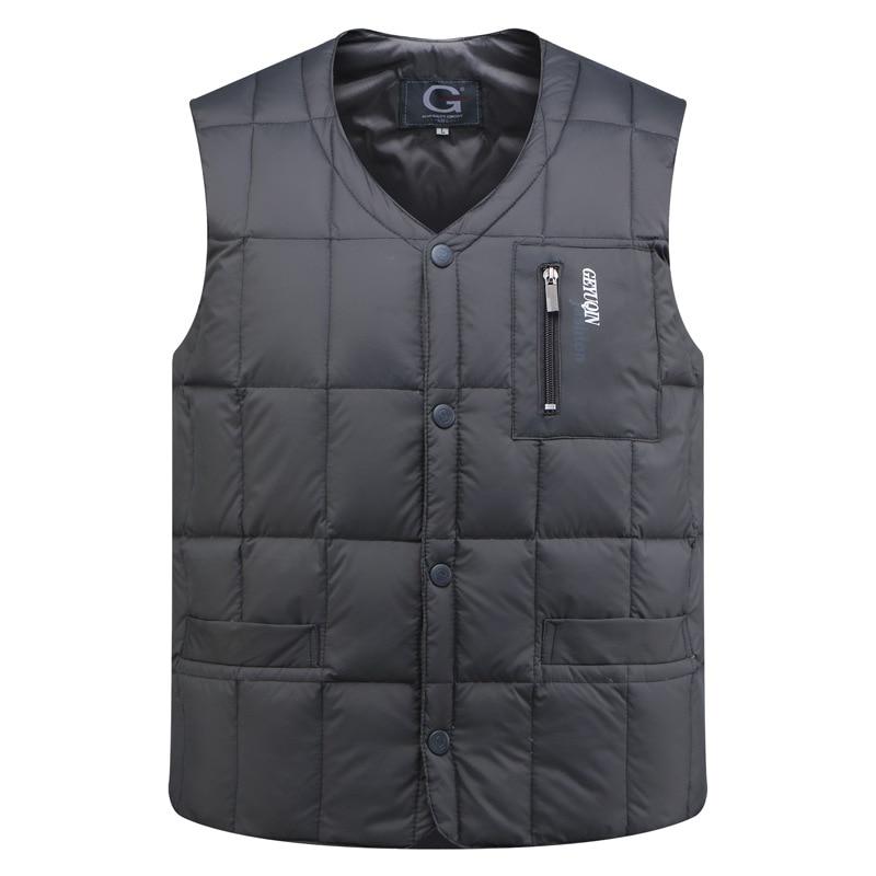Winter Parka Sleeveless Vest Thick Slim White Goose Down Men Bodywarmer Duck Down Jacket Mens Warm Vest Waistcoat 3XL