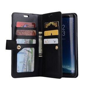 Image 3 - Funda de cuero con tapa para Samsung S20 S20 + S20 Ultra Note 10 9 8 S10E S10 S9 S8 S7 A5 A7 2017, 10 tarjeteros con cremallera