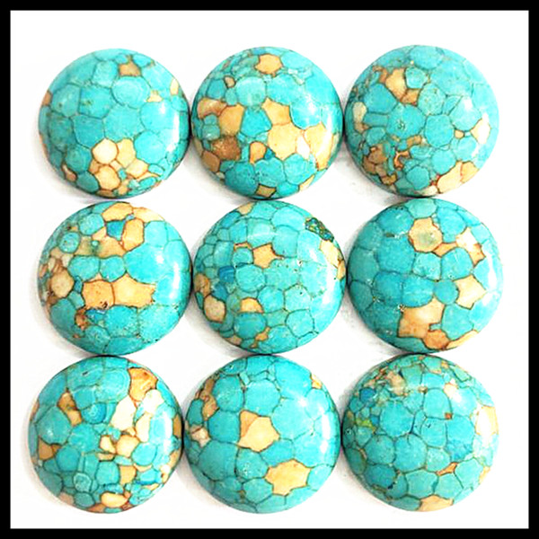 10pcs nature blue turquoisee stone CABS no holes round shape 18mm top fashion beads for diy findings and fitings