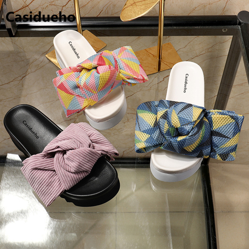 Casidueho Knot Platform Shoes Woman Flats Slip-on Gladiator Sandals Women Slippers Dress Sandalia Feminina Dress Sandalias 40 knot side wrap cami dress