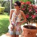 Venta al por menor! Vestido de verano 2014 Dama de La Moda Sin Mangas Con Cuello En V Vestido de Gasa Impresa Flor Casual Summer Beach Dress S-XL 30