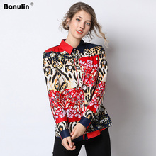 Banulin Spring Womens Tops and Blouses 2019 Runway Designer Long Sleeve Leopard Print Casual Office Blouse Shirt Female Blusas