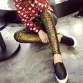 2016 Otoño Nueva Moda de Algodón Brillante Hot Stamping Oro Dorado Polainas Pantalones Elásticos Pantalones Delgados Leggings Mujeres Legging Desgaste Externo