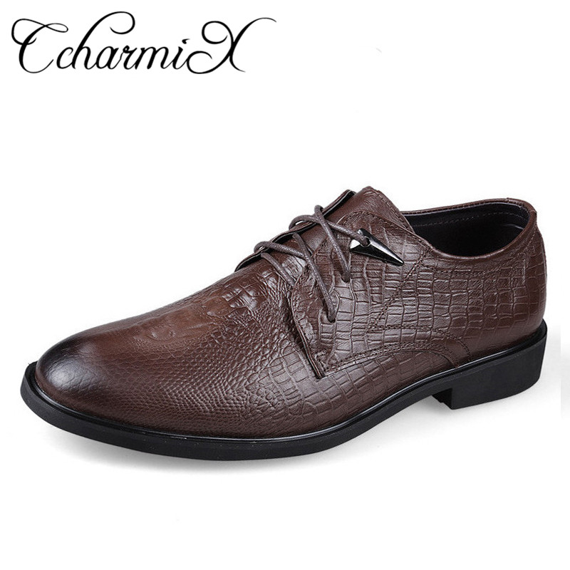 цены на CcharmiX Plus Size 46 Genuine Leather Mens Dress Shoes Crocodile Pattern Leather Cool Wedding Shoes Man Fashion Formal Shoes в интернет-магазинах