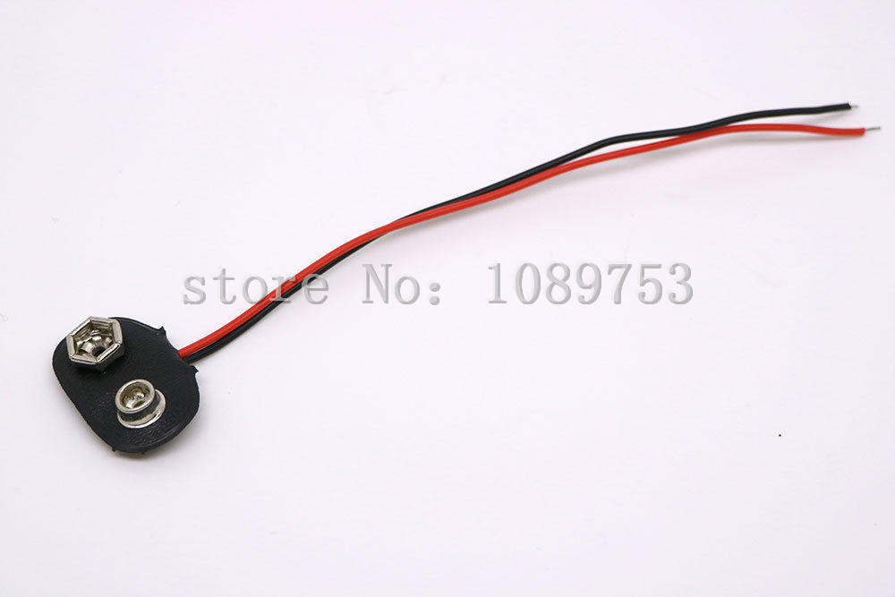 100PCS 9V Volt Battery Snap Connector Clip with Lead Wire 150MM Cable