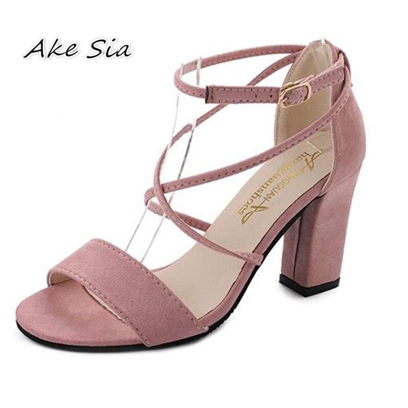 2019 Summer Cross-Strap Sandals Pink Gladiator Sandalia Feminina Rough With High High Heels Casual Buckle Strap Sandals S022-1