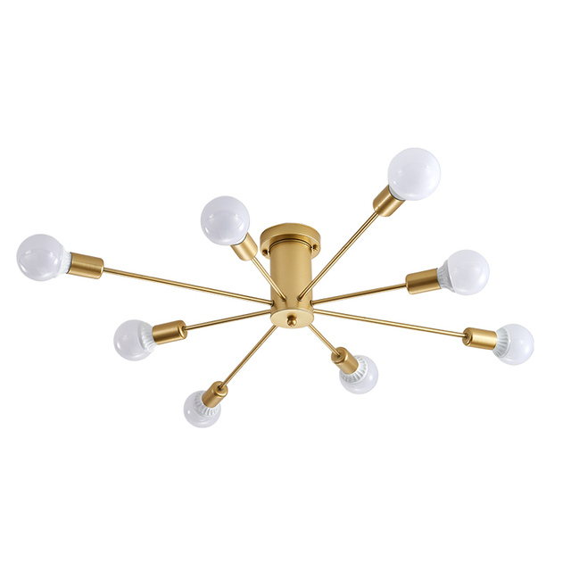 Nordic creative living room lamp wrought iron modern minimalist room chandelier bedroom ceiling lamp personality lamps E27 lamps