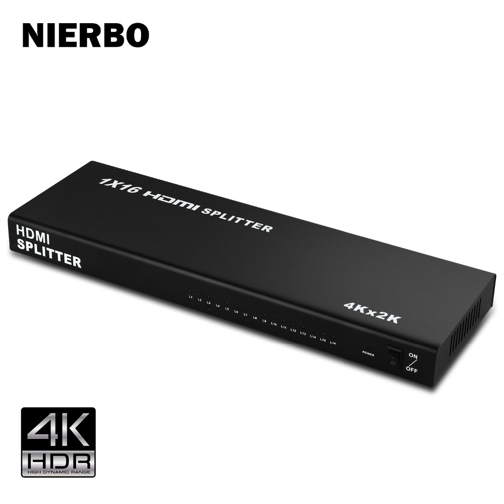 NIERBO Duplicator HDMI Splitter 1x16 HDMI Switch 1 Input 16 Output 1080p Full HD 4K 3D for PS4 PS3 XboX Chromecast DVD Monitor