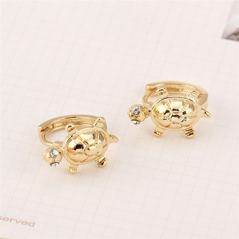 New Design Solid Gold Filled Cute Turtle Safety Baby Hoop Earrings For Toddler Girls Wom ...