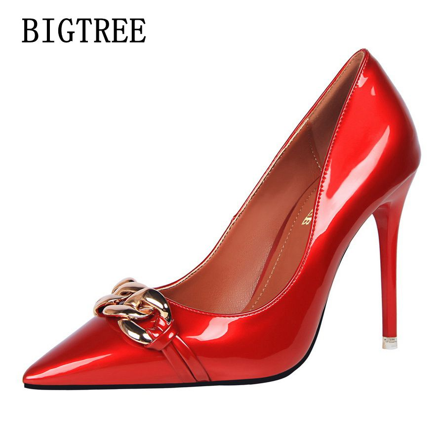 BIGTREE Women's sexy high heels fashion thin shallow mouth pointed metal chain ladies comfortable shoes wedding shoes size34-39 2017 the new european american fashion horn bow pointed mouth shallow comfortable flat sheet metal red shoes tide size 35 41